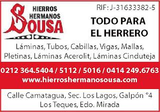 HIERROS HERMANOS SOUSA, C.A. en Paginas Amarillas tu guia Comercial
