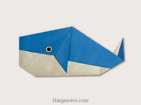 Cách gấp, xếp con cá voi 2 bằng giấy origami - Video hướng dẫn xếp hình sinh vật dưới nước - How to fold a Whale