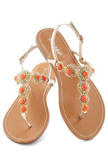 Beautiful Jeweled Flat Sandals