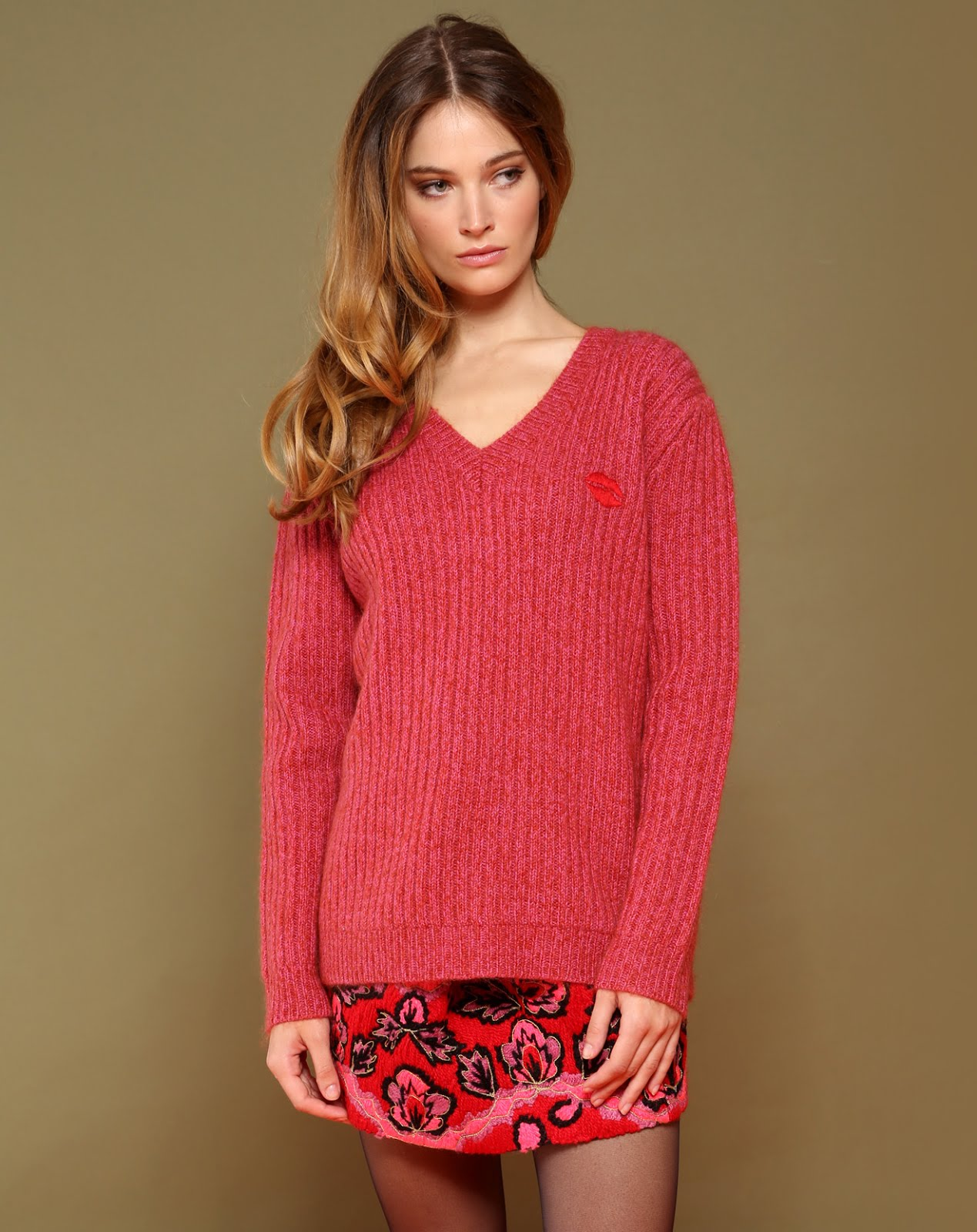 Pull maille rouge Manoush