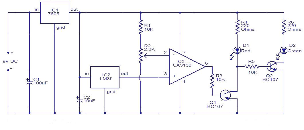 Temperature Controller Circuit Using Ic Lm35