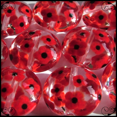 Lampwork Glass Poppy Lentil Beads