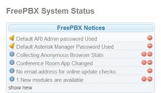 Avisos del FreePbx