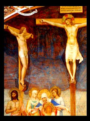 Jesús crucificado. A su derecha en otra cruz San Dimas. Abajo las santas mujeres y San Juan.
