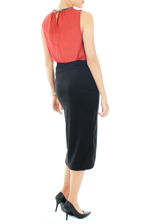 Classic Black Pencil Skirt in Longer Length