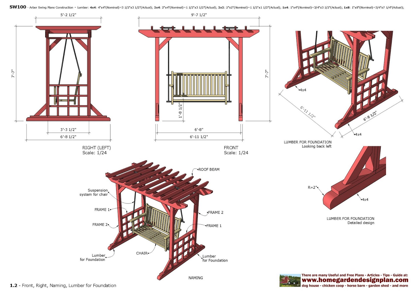 Home Garden Plans Furniture Plans Arbor Swing Plans - garden swing designs