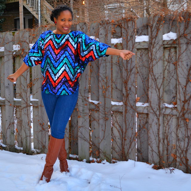 vintage sequin top with multicolor chevron stripes