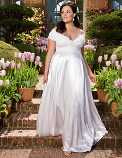 A Great Line Shape Will Be Flattering To Able Curvier Figures As It Could Skim Above Hips Any V Neck Plus Size Bridal Dress