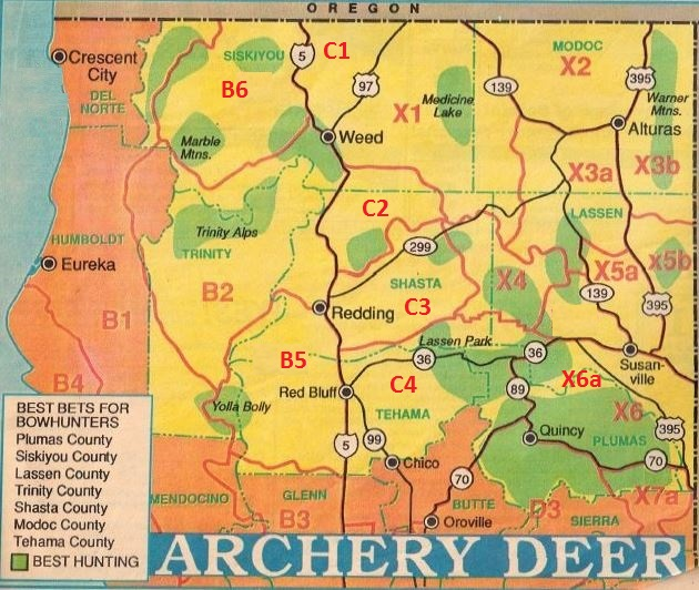 2017 California Archery Deer Hunting Maps Bow Hunting