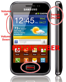 Letak kombinasi tombol Power On/Off, Home dan Volume Up/Down pada Samsung Galaxy Mini 2