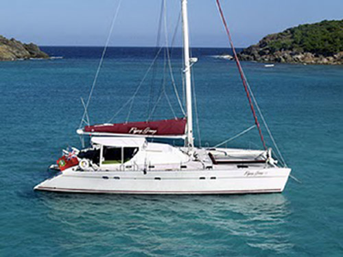 The charter yacht Flying Ginny VII, a 55-foot Lagoon catamaran, ...