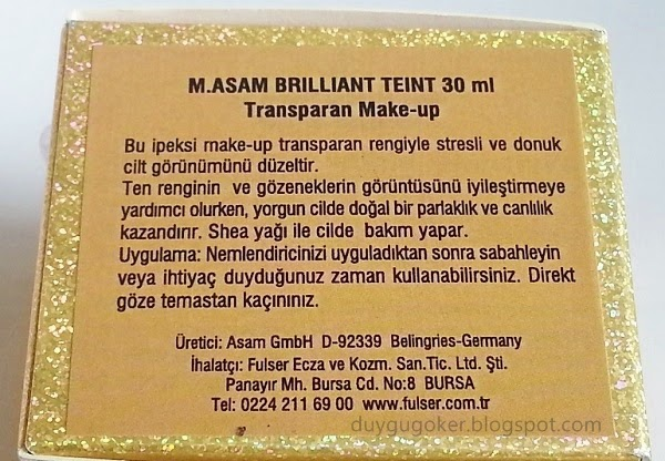 M.Asam Brillant Teint Transparent Make Up Açıklaması