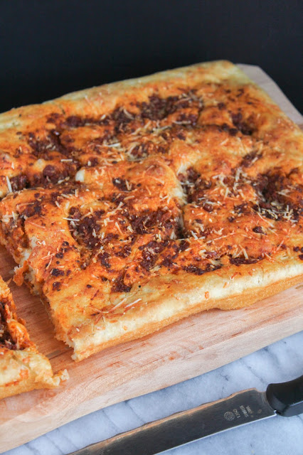 Roasted Red Pepper Pesto Focaccia | The Chef Next Door