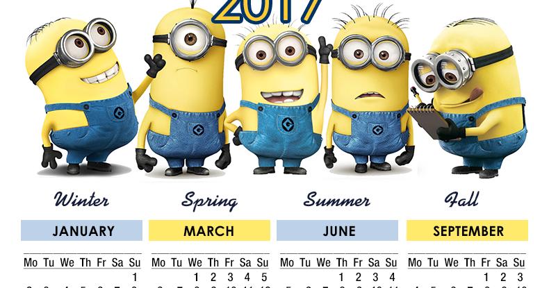 ... , New York, NY: Minions Calendar 2017 - Printable - 4 Seasons - Free