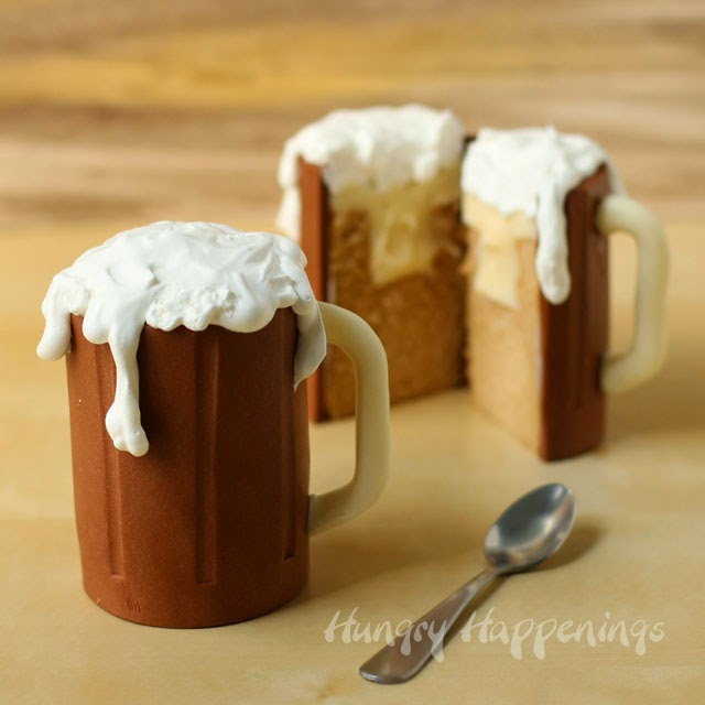 Root Beer Mug Cakes filled with Vanilla Ice Cream Ganache - Hungry ...
