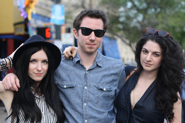 group of three friends at sxsw music festival