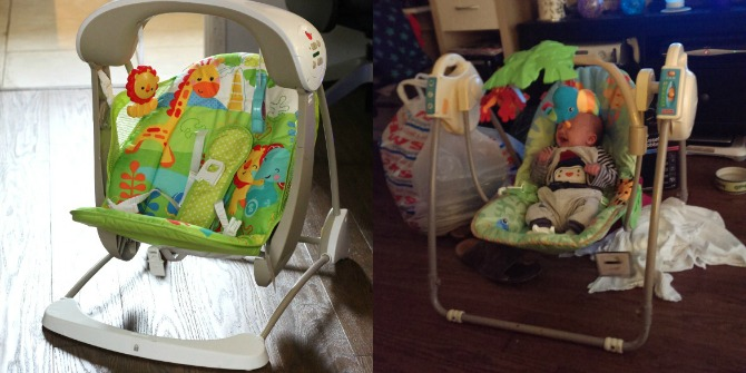 New and old fisher price rainforest swings