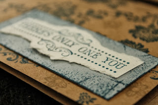 Kraft brown stamped card navy blue thinking of you by HandiworkinGirls