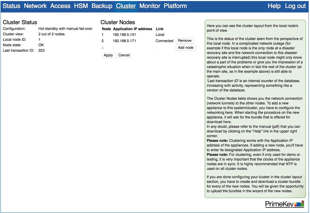 PrimeKey PKI Appliance Web Configuration cluster status with two nodes.