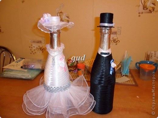 Свадебные украшения на бутылку мастер класс