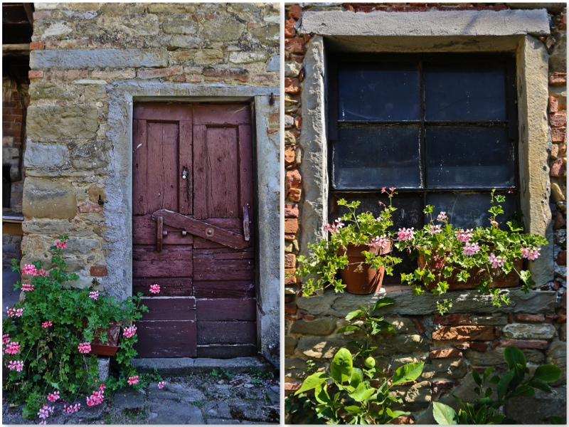 The contrast between the lively geraniums and the old door is quite special & Poggio alle Ville: Beautiful Old Tuscan Doors and Windows