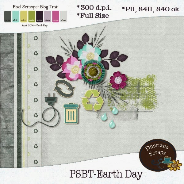 "PixelScrapper blogtrain ""Earth Day"" by Dhariana Scraps"