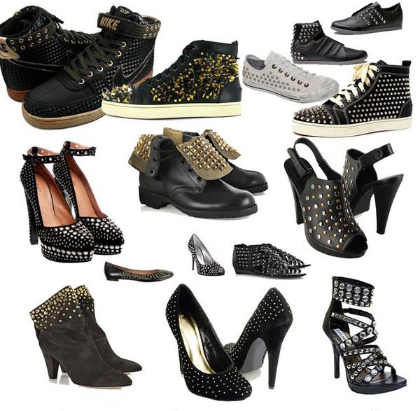 Sapatos com tachas, rebites e spikes