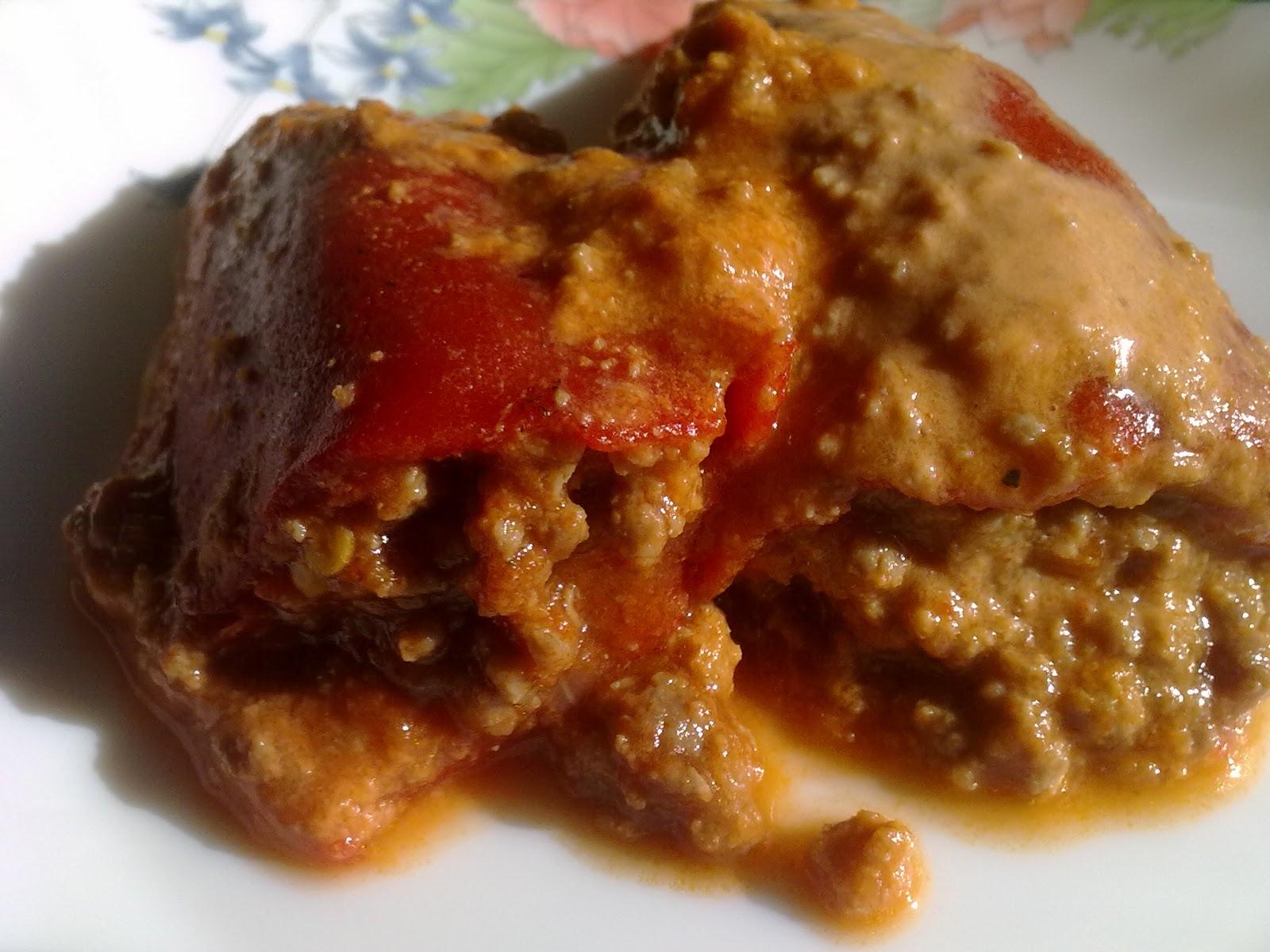 Dieta dukan pimientos de piquillo rellenos de carne pv - Pimientos rellenos de carne picada y bechamel ...