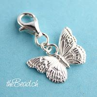 Schmetterling Charm mit Karabiner aus 925 Sterling Silber