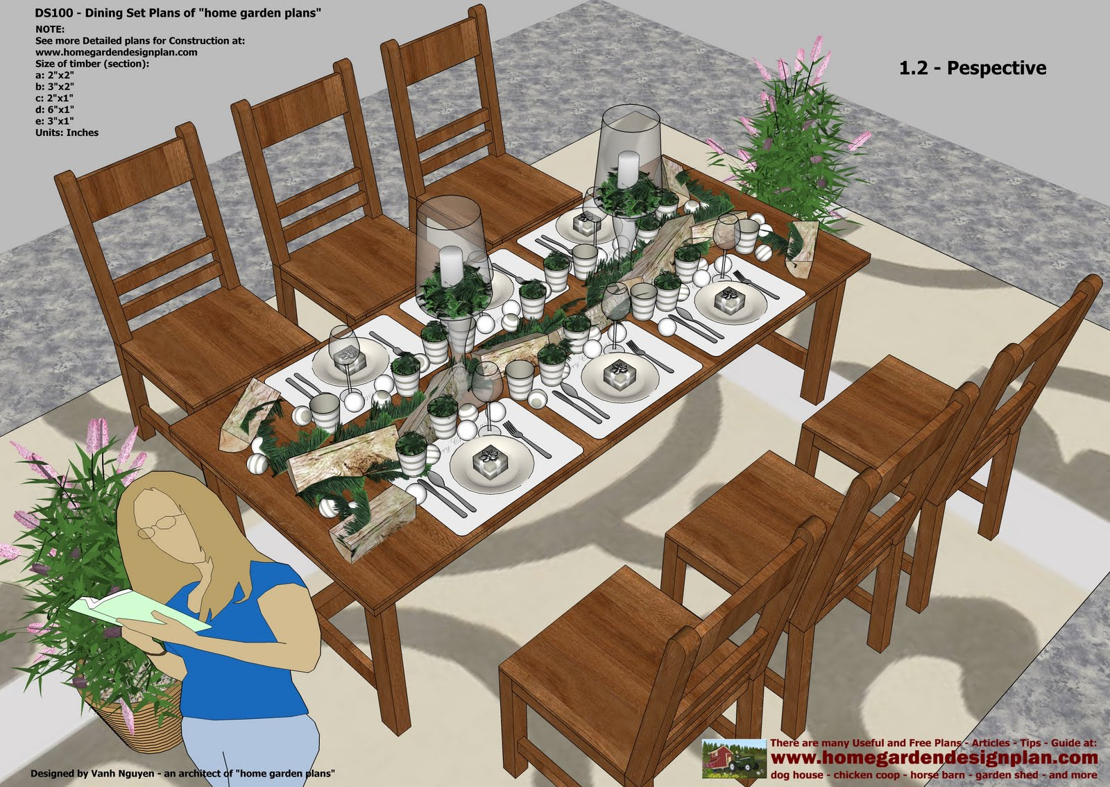 DS100   Dining Table Set Plans   Woodworking Plans   Outdoor Furniture Plans Part 44