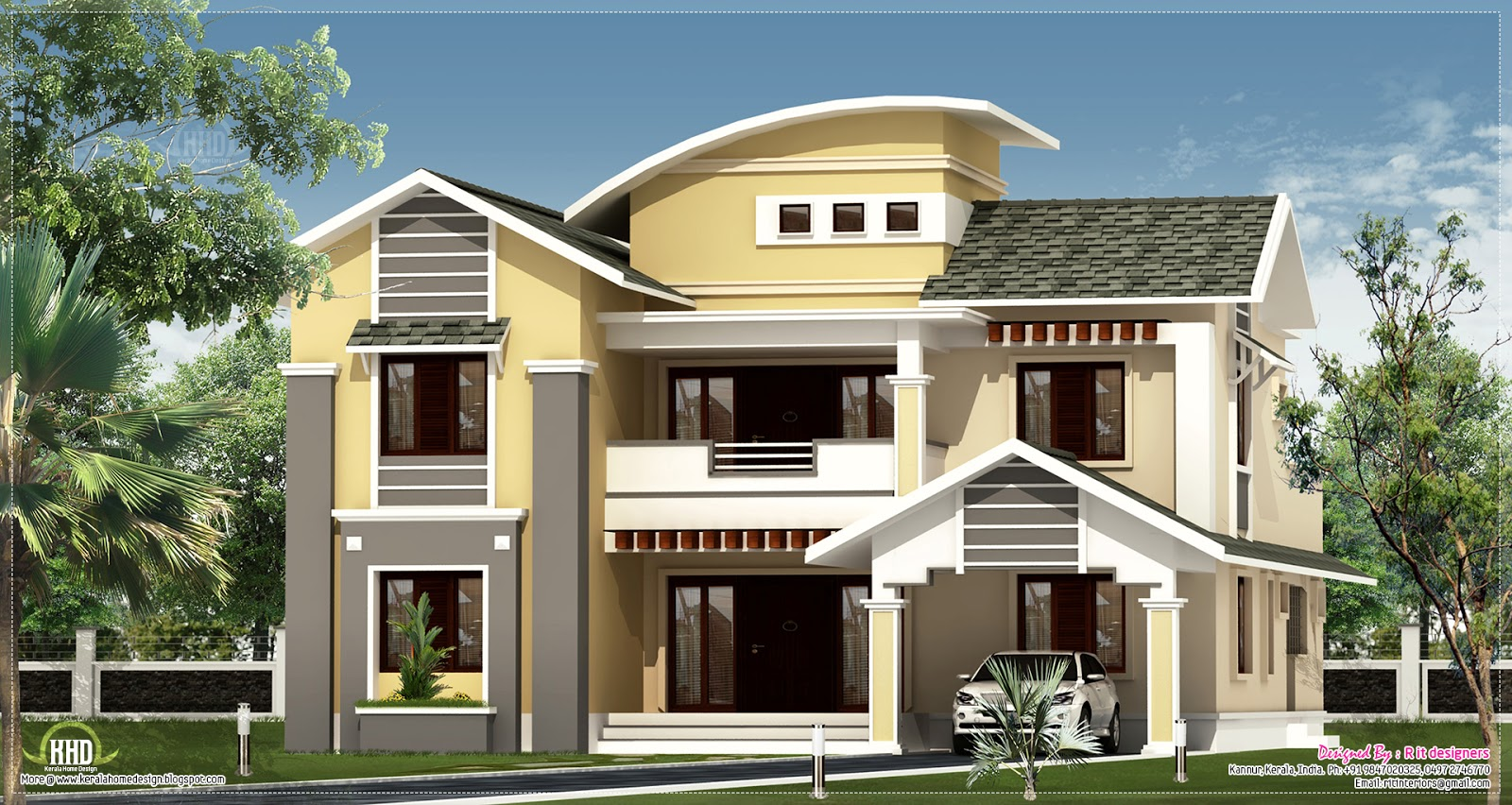 Modern kerala villa with mixed roof styles for Kerala style villa plans