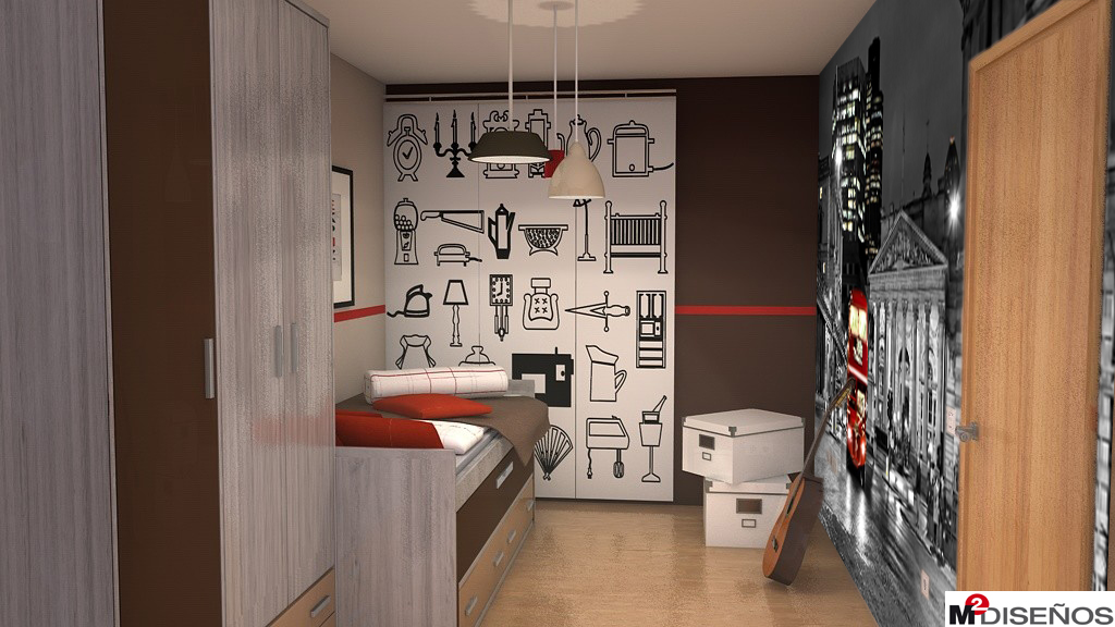 Dormitorio juvenil con mural decorativo elige entre los 3 for Mural habitacion juvenil