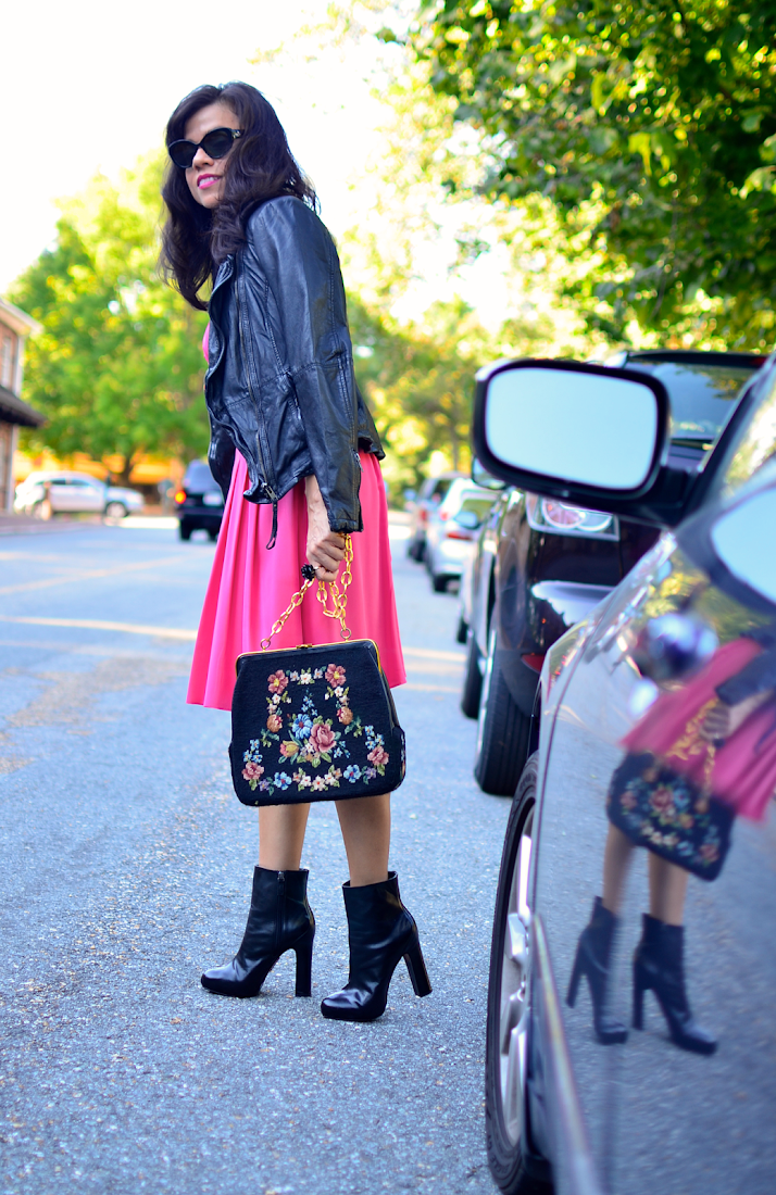 Biker jacket with pink dress