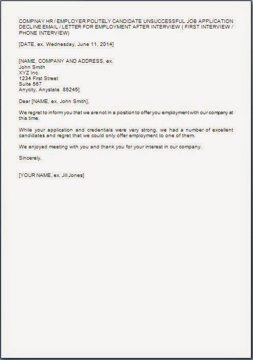 Job Application Rejection Letter After Interview