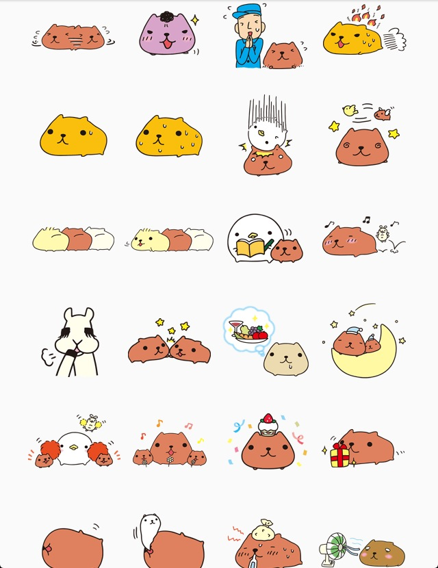 KAPIBARASAN and Friends line stickers
