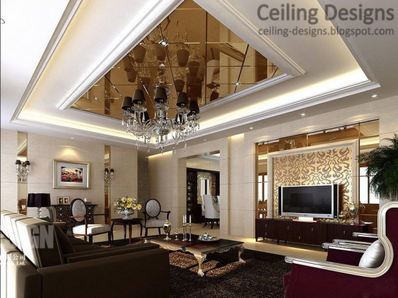 Gypsum Tray Ceiling Design With Mirror Ceiling Tiles And Crystal Chandelier