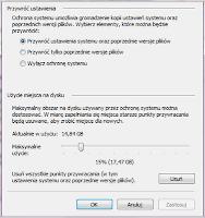 Konfiguracja funkcji przywracania systemu Windows - zrzut