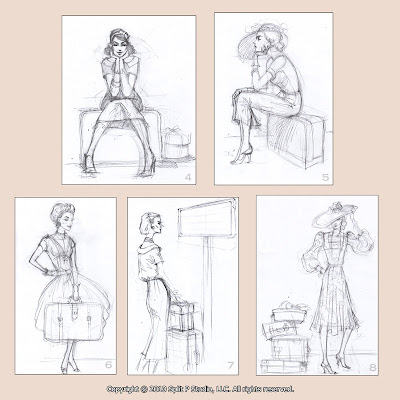 retro fashion sketches for luggage tags
