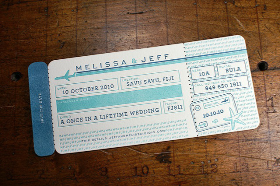 Letterpress Airplane Ticket Save the Date {by Swell Creative} .