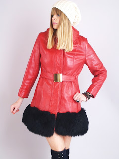 Vintage 1960's mod style red leather coat with black shearling trim