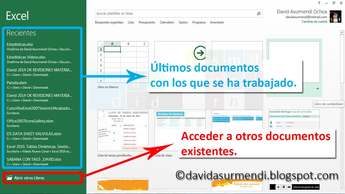 Opciones para Abrir Documentos en Excel 2013.