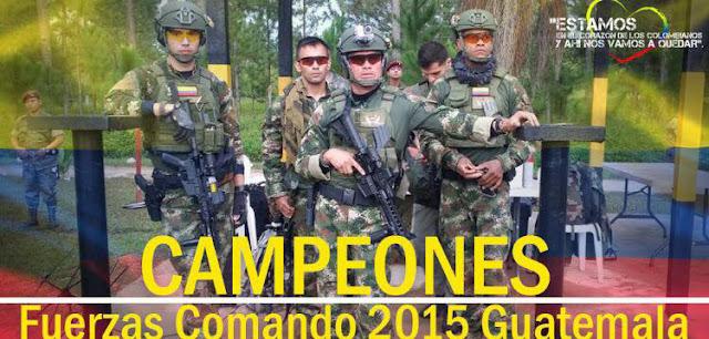El equipo de Fuerzas Especiales colombiano, que salió campeón de Fuerzas Comando 2015.