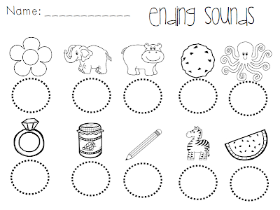 Ending Sounds Cut and Paste Worksheets