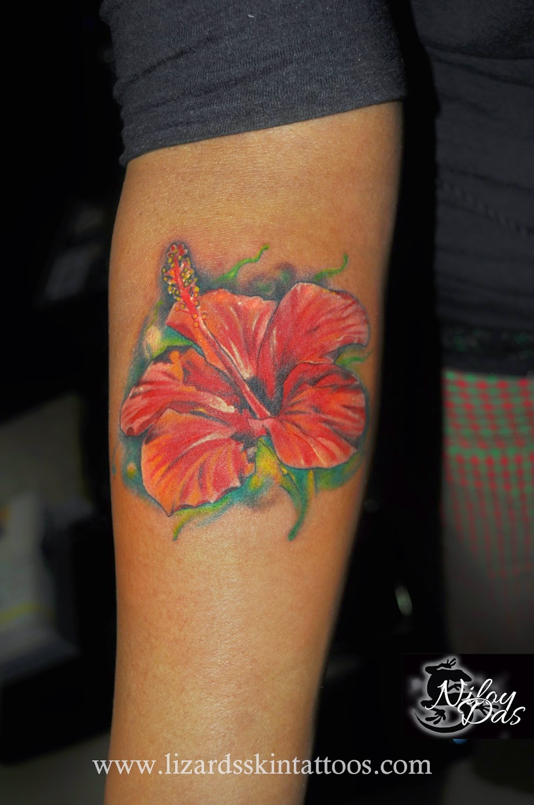 Lizards Skin Tattoos Hibiscus Flower Tattoo By Artist Niloy Das India