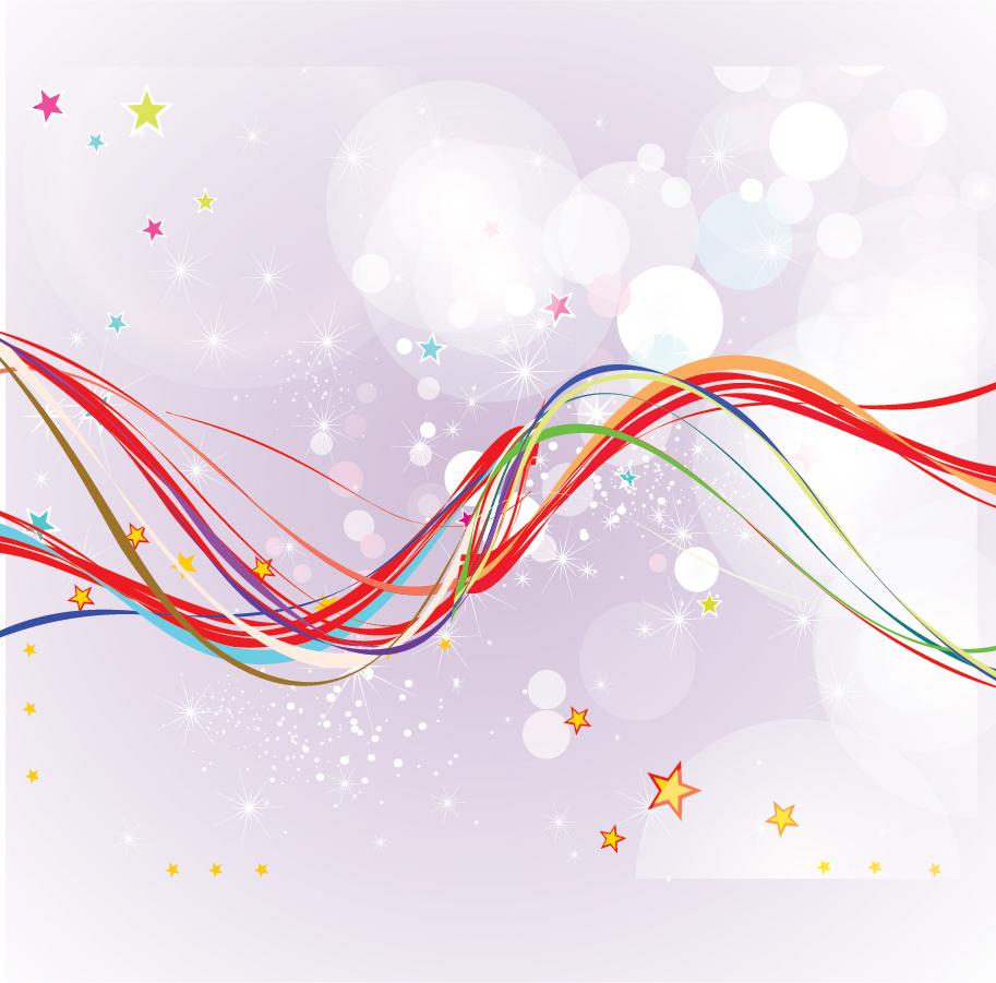 カラフルな曲線の背景 Lots Of Abstract Colourful Wavy Lines イラスト素材