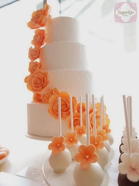 pastel de boda naranja