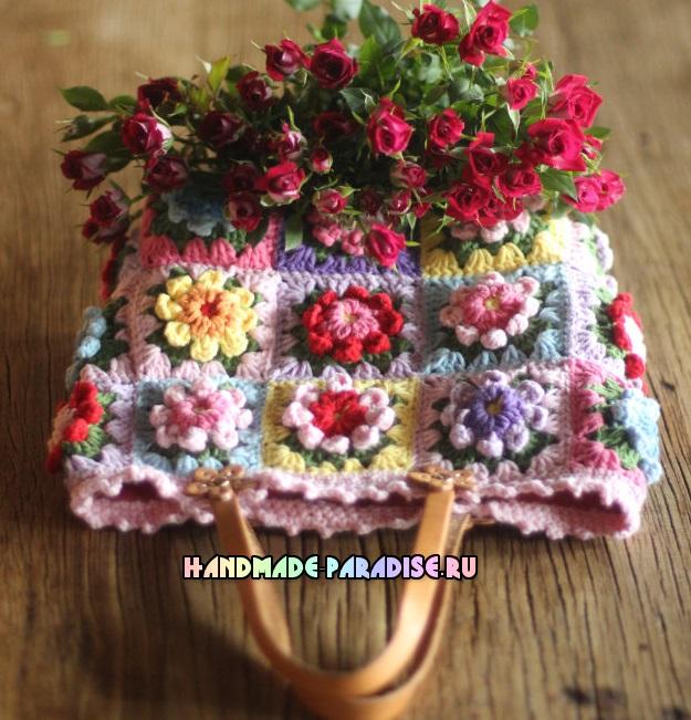 Сумка крючком из цветочных мотивов