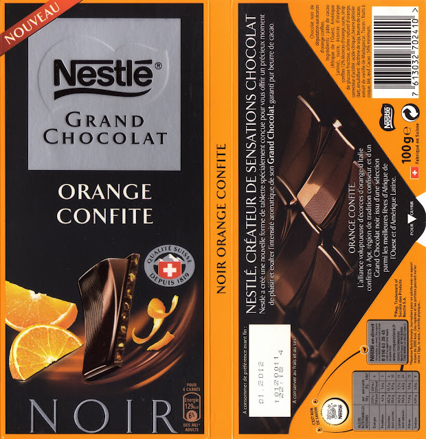 tablette de chocolat noir gourmand nestlé grand chocolat orange confite