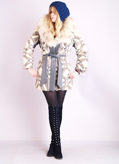 Vintage 1960's geometric princess style belted mink fur coat with large collar.