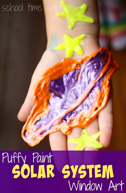 Boredom Busters for Kids - fun with puffy paint